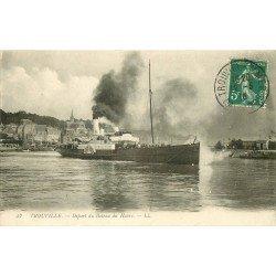 carte postale ancienne 14 TROUVILLE. Départ du Bateau du Havre 1916
