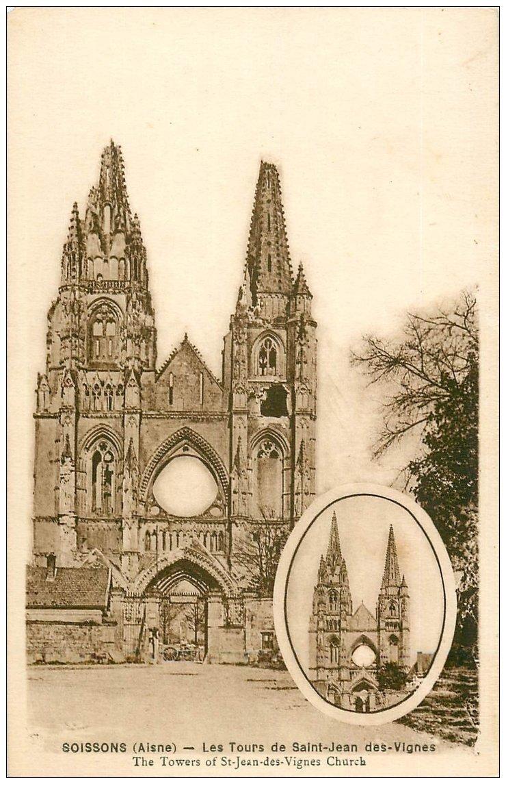 carte postale ancienne 02 SOISSONS. Abbaye Saint-Jean des Vignes. Les Tours