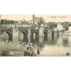 87 LIMOGES. Lavandières et Enfants près du Pont Saint-Etienne 1916
