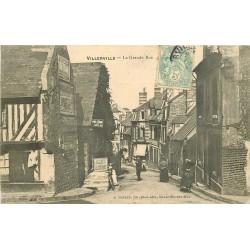 14 VILLERVILLE. Agence Coumy et Epicerie Centrale sur Grande Rue 1906