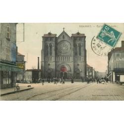 42 ROANNE. Eglise Saint-Louis et Café de l'Industrie 1911