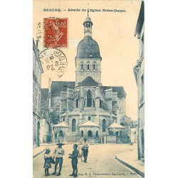 21 BEAUNE. Abside Eglise Notre-Dame 1908 belle animation