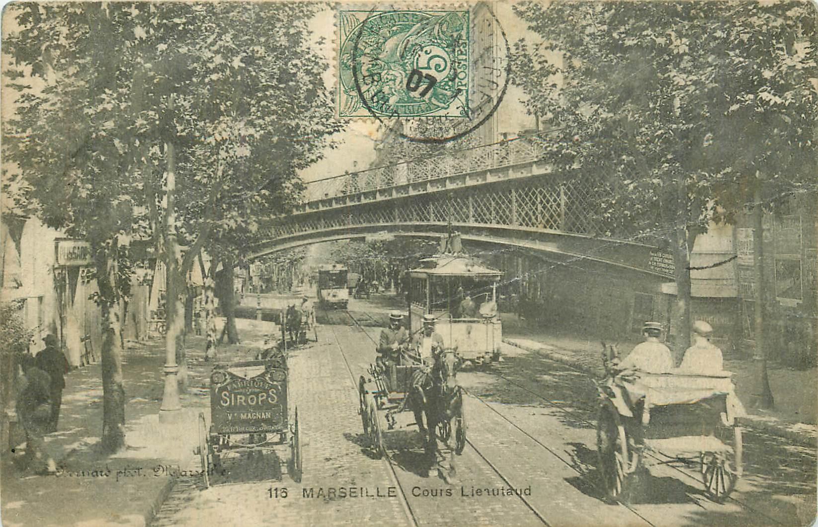 13 MARSEILLE. Attelages et tramways sur le Cours Lieutaud 1907