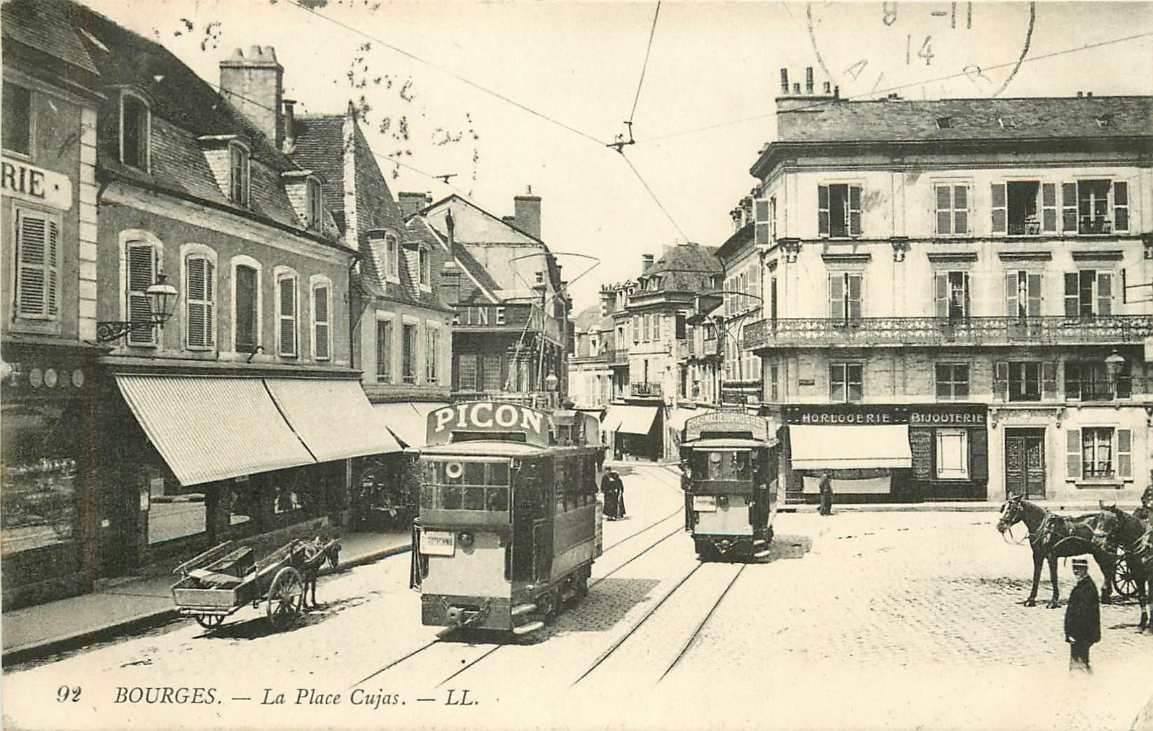 """18 BOURGES. Tramway """" Picon """" sur la Place Cujas 1914"""