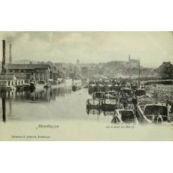 03 MONTLUCON. Nombreuses Péniches sur le Canal du Berry 1908