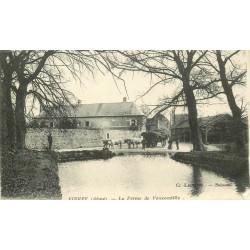 02 VIERZY. La Ferme de Vauxcastille 1915 avec attelage de Boeufs