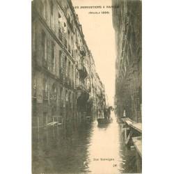 44 NANTES. Sauveteurs rue Kervégan pendant les Inondations de 1904
