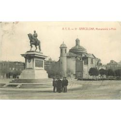 2 x Cpa BARCELONA. Monumento à Prim 1909 et Rambla de Santa Monica 1906