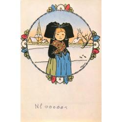 HANSI WALTZ. Gosses d'Alsace. Illustration n°001 tirée du livre illustration pour Salon Cartophilique Mulhouse 1979