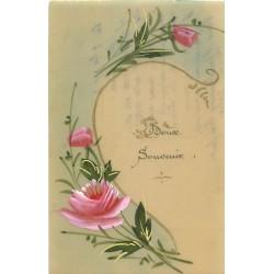FLEURS. Doux souvenir. Roses peintes à la main sur celluloïd 1917
