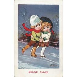 Illustrateur FRED SPURGIN. Bonne Année avec du patin sur glace
