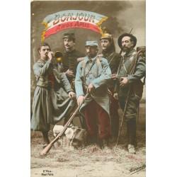 GUERRE 1914-18 SOLDATS MILITAIRES POILUS. Bonjour à nos Amis