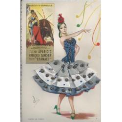Danseuse Espagnole de Flamenco avec véritable robe en tissu