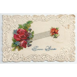 Bonne Année. Roses et ruban en ajout sur papier dentelle 1920