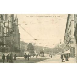GENEVE. Tramway devant Eglise Notre-Dame et la Gare