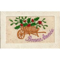 """FANTAISIES A SYSTEMES. Carte fils de soie brodés sur un voile """" BONNE ANNEE """" 1916 brouette"""