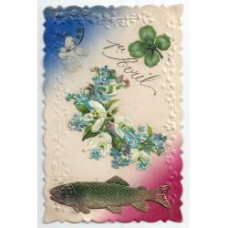 """Poisson et Fleurs en ajoutis """" 1er AVRIL """" et ruban en tissu carte gaufrée"""