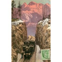 BRUNIGBAHN. Passhöne avec train et conducteur 1908
