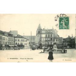 """92 SURESNES. Restaurant """" Au Père Hoquet """" Place du Marché 1908"""