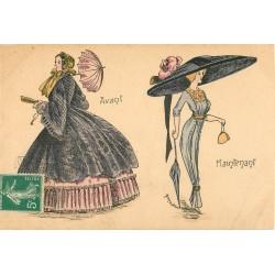 """La Mode par Bened """" Avant et Maintenant """" ombrelle et grand chapeau"""