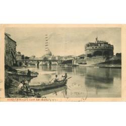 ROMA ROME. Pêcheurs en barque sur le Tevere 1930