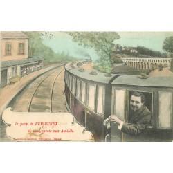 24 PERIGUEUX. Carte montage avec voyageur dans un Train 1907