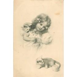 Illustrateur VIENNE n° 175. Fillette tricotant et ses deux chatons 1907