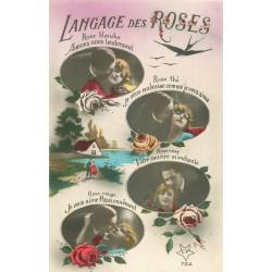 LE LANGAGE DES FLEURS. Roses blanche, thé, rose et rouge...