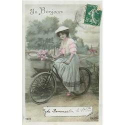52 DOMMARTIN LE SAINT PERE. Un Bonjour à bicyclette 1911
