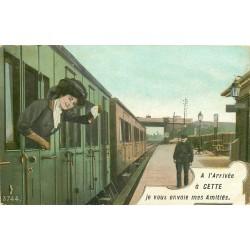 34 CETTE ou SETE. Carte surréaliste montage femme dans un train à la Gare 1910