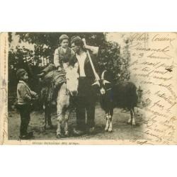 09 SAINT-GIRONS. Groupe Bethmalais avec âne et chèvre 1907