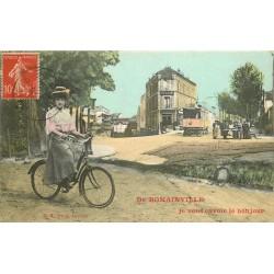 93 ROMAINVILLE. Carte montage Cycliste avec Tramway et Hôtel Restaurant derrière 1908