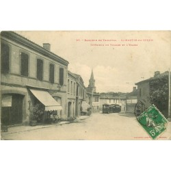 31 SAINT-MARTIN-DU-TOUCH. Boucherie et Train Tramway vers l'Eglise du Village 1913