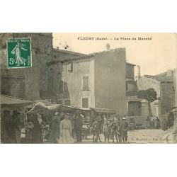 11 FLEURY. La Place du Marché bien animée 1912