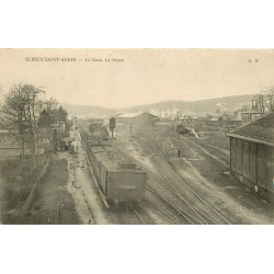 76 ELBEUF-SAINT-AUBIN. Départ des trains à la Gare 1905