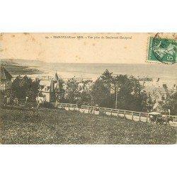 carte postale ancienne 14 TROUVILLE. Attelage Boulevard Hautpoul 1913