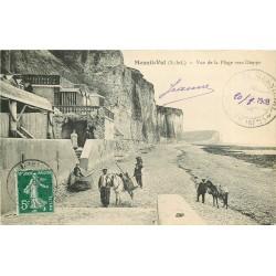 76 MESNIL-VAL. Le transport par chevaux des casiers à galets et crustacés sur la Plage 1908