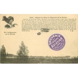 AVITATION. Aviatrice Baronne de la Roche sur Biplan quinzaine du Havre Trouville Deauville 1910
