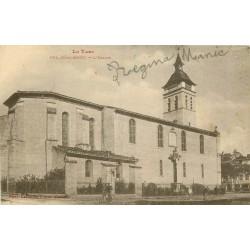 81 REALMONT. Le Facteur à véo devant l'Eglise 1935