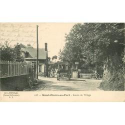 76 SAINT-PIERRE-EN-PORT. Attelage de l'Hôtel à l'Entrée du Village 1913 et Café Lemarchand