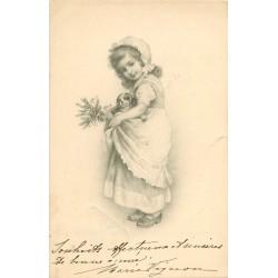 Illustrateur VIENNE. Fillette en tablier avec son petit chiot 1905
