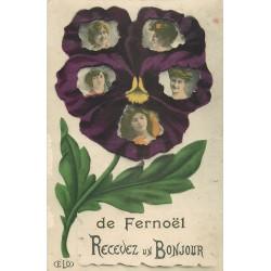 63 FERNOEL. Un Bonjour avec 5 jolies femmes dans une Fleur 1909