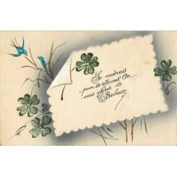 Carte à système NOUVEL AN. Carte toilée peinte à la main avec véritable fleur séchée au verso