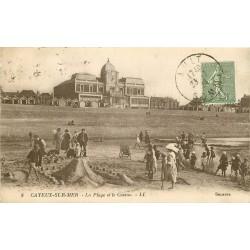 80 CAYEUX-SUR-MER. Construction d'un Fort de sable et le Casino 1924