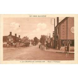 18 LA CHAPELLE D'ANGILLON. Garage et pompe à essence sur Route d'Aubigny 1935