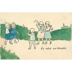 Illustrateur HENRIETTE DELALAIN. Le Salut aux blessés.