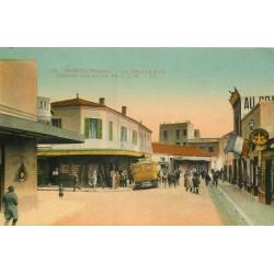 Maroc. OUDJDA. Départ des autos sur la Grande Rue 1928