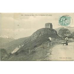 73 SEEZ environs. Villageois et cochon chercheur de truffes et Tour Châtelard 1906