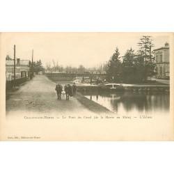 51 CHALONS-SUR-MARNE. Le Pont du Canal et l'Ecluse avec chevaux de trait pour Péniche