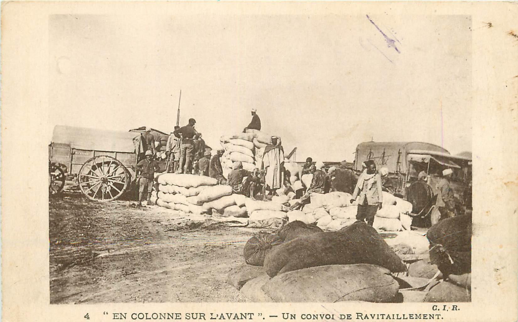 LA GUERRE AU MAROC. Un Convoi de ravitaillement 1928